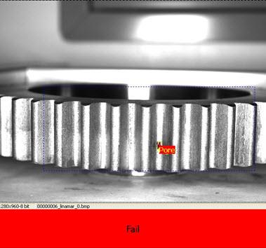 Porosity detected between the gear teeth